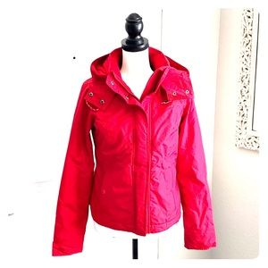 Red all weather jacket by Hollister